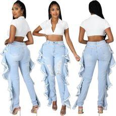 Tassels wash holes slim sexy jeans