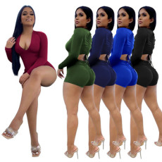 Sexy stitching solid color BODYSUIT