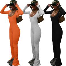 Solid U-neck flared pants Jumpsuit
