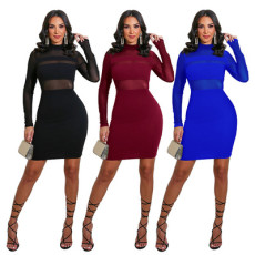 Sexy mesh stitched hollow out dress