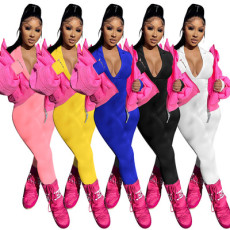 Solid color tight long sleeve zipper Jumpsuit