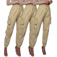Solid color pocket lace up Sweatpants