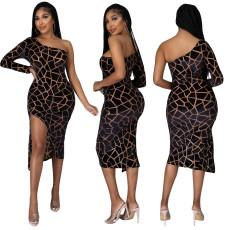 Fashion printed one shoulder dress