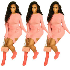 Fleece skirt pants two piece set