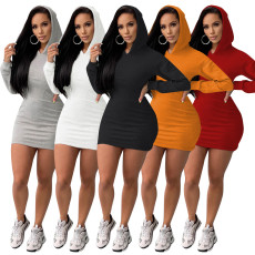 Solid color sweater sexy dress