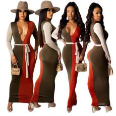 Patchwork print fashion dress