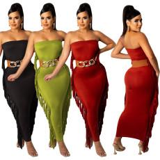 Fashion sexy tassel backless dress (no belt)