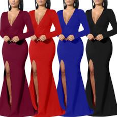 Sexy fashion evening dress V-neck dress