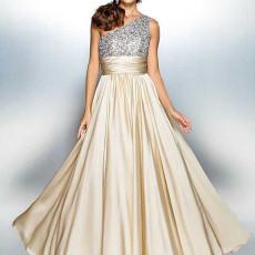 Sexy slant shoulder slim dress dress
