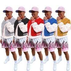 Fashion stitched thread zipper Bomber Jacket