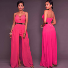 Sexy sleeveless suspender backless Jumpsuit