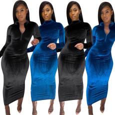 Fashion slim bright velvet solid dress