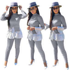Two piece set of stitched bubble sleeve folds