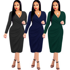 Sexy fashion solid V-neck dress