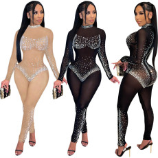 Sexy mesh perspective hot drill Jumpsuit