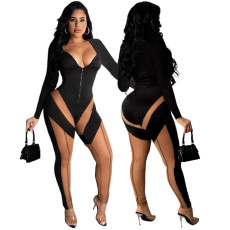 Fashion stitched mesh perspective one-piece pants