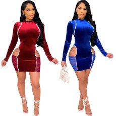 Sexy fashion stitched Long Sleeve Dress