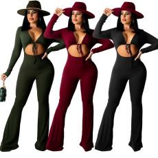 Fashion rib open navel Jumpsuit