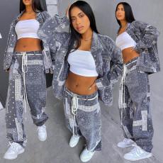 Fashion printed loose casual shirt two piece set