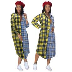 Loose waist Plaid cardigan dress