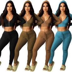 Fashion casual zipper two piece set