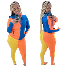 Fashion sexy multi panel hooded two piece set