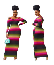 Fashion casual pit stripe Printed Dress