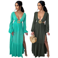 Sexy low neck hollow out long sleeve dress
