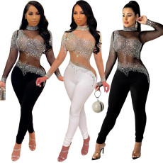 Sexy mesh perspective hot drill long sleeve Jumpsuit