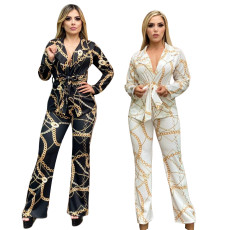 Printed trousers coat two-piece set