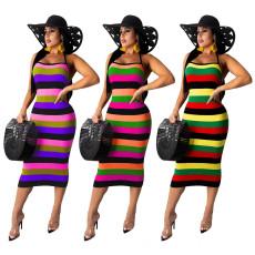 Leisure pit stripe colorful printing suspender dress