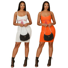 Fashion suspender print dress