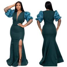 V-neck elegant bubble sleeve split dress skirt