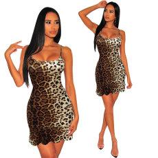 Fashion digital printing suspender dress