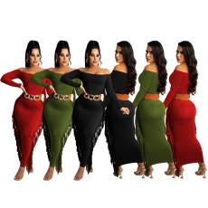 Sexy fashion dress tassel dress (without belt)