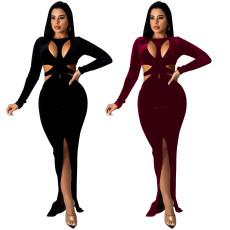 Sexy long sleeve hollow out button split dress
