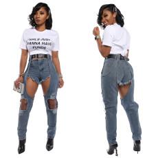 Fashion cut length stitched jeans