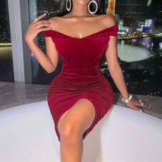 Sexy off shoulder red dress