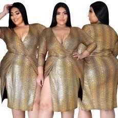 Fashion V-neck stripe dress