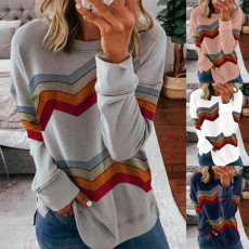Casual patchwork stripe long sleeve top