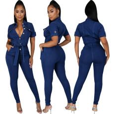 Fashion denim slim Jumpsuit