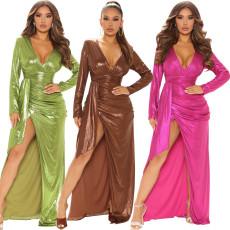 Sexy fashion gilded V-neck dress