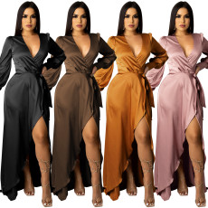 Sexy deep V-strap long sleeve split dress