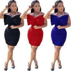Fashion sexy solid color suspender dress