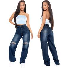Fashion personalized hole elastic straight pants
