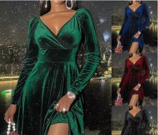 Sexy V-neck velvet dress