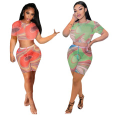 Mesh casual two piece set