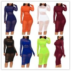 Sexy mesh dress + Vest + shorts three piece set
