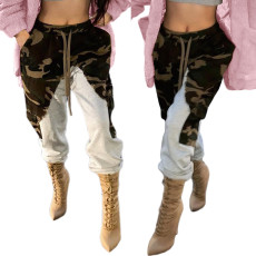 Camouflage stitched Plush pants thickened
