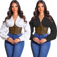 Fashion sexy shirt collar stitched PU Leather Zip Top
